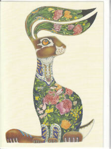 Hare With Flowers Greetings Card - Daniel Mackie Collection birthday