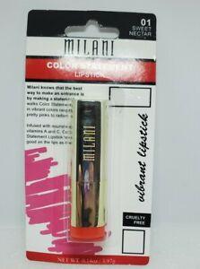 New NIB Milani Color Statement Lipstick 01 SWEET NECTAR Sealed
