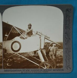 WW1 Stereoview Photo 37mm Mounted On Armored Aeroplanes Quickfirers Underwood