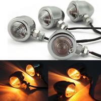4x Universal Chrome Motorcycle LED Turn Signal Blinker Indicators Amber Light