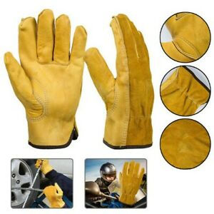 Leather Gardening Gloves Ladies Mens Thorn Proof Thick Work Gauntlets Heavy Duty