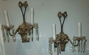 Stunning pair of brass mid-19th cen French 2 Candelabra wall sconces w/prisms