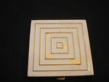 Old Vtg Adrienne Gold Tone Decorative Make-up Ivory Powder Compact Mirror P-445