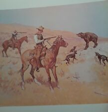 """Frederic Remington Print -""""His Last Stand"""" Bear,Dogs, Cowboy - Western Art"""