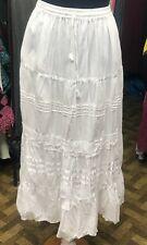 White Cotton Maxi Skirt Summer Boho Festival Lined One Size 10 12 14 16 18 20