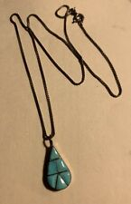 Pendant Tear Drop Sterling Vintage Native American Turquoise Necklace
