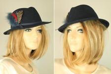 Vtg Doeskin Bollman Navy Blue 100% Wool Fedora Felt Hat w Feather Accent 8f18b0e32de3