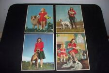 Vintage Lot 4 Lithos 40s C. Moss Daisy Days Balled Up Winning Pair Pin Up Girls