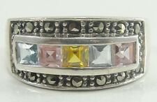 Sterling Silver Princess Cut Pink Blue Yellow CZ Marcasite Band Ring Size 7