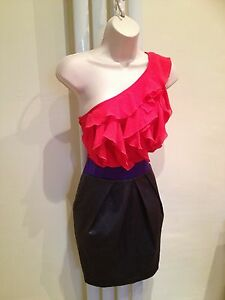 LIPSY Stunning Sexy Pink, Grey Frill Ruffle One Shoulder Party Dress Size 12
