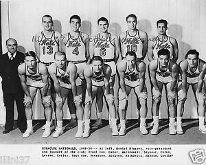 1949-50 SYRACUSE NATIONALS NBA BASKETBALL 8X10 TEAM PHOTO CERVI SCHAYES