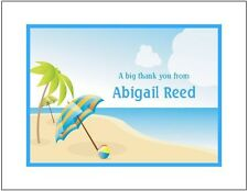 Beach Umbrella and Palm Tree ~ Personalized Note or Thank You cards