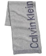 $134 CALVIN KLEIN Mens BLUE GRAY LOGO KNIT LONG WINTER MUFFLER SCARF SHAWL