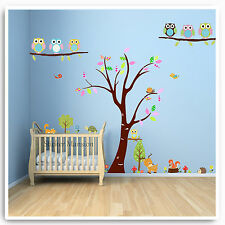 Owl Wall Stickers Woodland Animals Jungle Zoo Nursery Baby Kids Room Decal Art