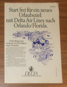 Seltene Werbung DELTA AIRLINES Walt Disney World Orlando ab Frankfurt 1988