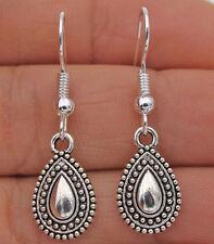 """925 Silver Plated Hook -1.3"""" Vintage Waterdrop Type Women Bohemia Earrings #17"""