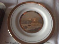 Japanese Chokin Plate 24 Karat Gold Trim Temple Mountains Pagoda NIB with stand
