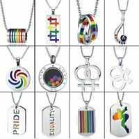 Fashion Stainless Steel LGBT Gay Lesbian Pride Peace Necklace Rainbow Couple Hot