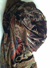 Printed Velvet Scarf / Wrap - Flowers, Birds, Asian Inspired - Beautiful Colors
