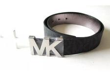 Michael Kors Women's Signature MK Logo Buckle Belt Black Silver Size M NWT