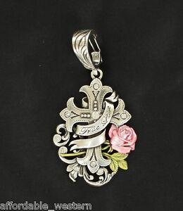 Rhinestone Cowgirl ~Pink ROSE & CROSS~ Western Silver Crystals ~ TRUE LOVE ~ 16