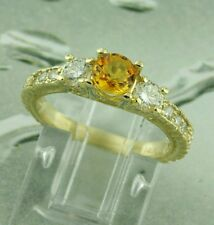 14k Solid Yellow Gold 1.40 ct Natural Diamond Yellow Sapphire Ring made in USA