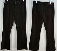LAUREN JEANS COMPANY Brown Corduroy Jeans Sz 12 Classic Boot Cut Vintage Ralph