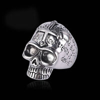 Men's Stainless Steel Cool Gothic Bible Skull Punk Biker Finger Rings US 10/11