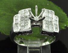 1.18 ct 18k White Gold Ladies Semi Mount Diamond Ring invisible set  10.0 grams
