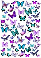 AQUA & PURPLE BUTTERFLY Wafer Rice Paper Cupcake Toppers EDIBLE CAKE Butterflies