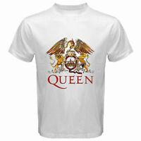 New QUEEN Rock Band Legend Logo Freddie Mercury Men's White T-Shirt Size S-3XL