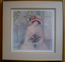 "BARBARA A. WOOD, PRINT SIGNED ""Naome"" PRETTY GIRL FLOWERS CALIFORNIA LITHOGRAPH"