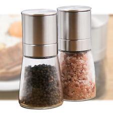 2 Pcs Stainless Steel Clear Glass Salt & Pepper Mill Grinder Spice Shaker Set