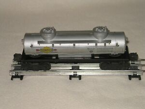Vintage Lionel 6465 Two Dome Silver Sunoco Tank Car - Good Cond - Used