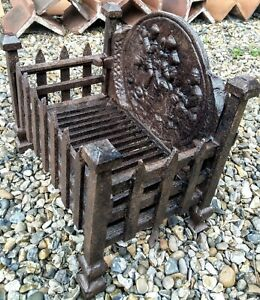 "FIRE BOX BASKET GRATE CAST IRON FIRE PLACE GRILL 15.5"" X 10 ""X 15"" OLD VINTAGE"
