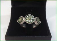 NEW PILGRIM SILVER PLATED RING STARS ADJUSTABLE BAND SIZE ENAMEL JEWELRY VINTAGE