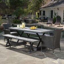 Contemporary Outdoor 5-piece Grey Picnic Dining Set
