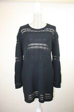 [SASS AND BIDE] Women's 'Crocheted Panels' Black Knit Long Sleeve Dress - Size M