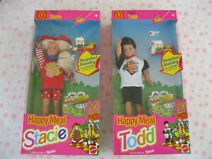 """Happy Meal Stacie & Todd Dolls Mattel 1993 Lot New """"Little Sister of Barbie"""""""