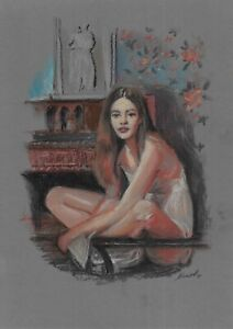 original drawing A4 369BJ art samovar pastel modern female portrait Signed 2021