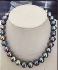 """Huge 18""""13&16mm natural south sea genuine black red green multic pearl necklace"""