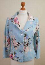 Renato Nucci UK10 EU38 100% Linen Short Tailored Jacket Floral Chintz Blue Pink