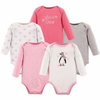 Hudson Baby Long-Sleeve Bodysuits, 5-Pack, Girl Penguin