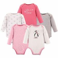 Hudson Baby Girl Long-Sleeve Bodysuits, 5-Pack, Girl Penguin