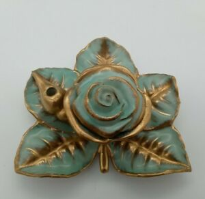 Vintage Rose And Leaf Inkwell And Quill Holder-Light Green/Blue with Gold