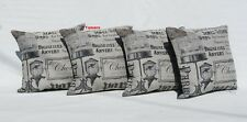 Vintage French Birdcage Natural Cushion Covers with Fillers -Plain Black Reverse