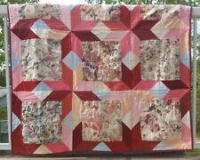Handmade QUILT Floral Parallelogram Patchwork THROW Burgundy Pink Flowers NEW