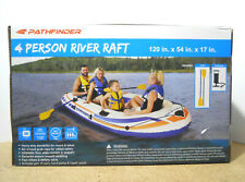 Pathfinder 4 Person Inflatable Raft Boat With Pump & Oars Sports River Canoe NEW