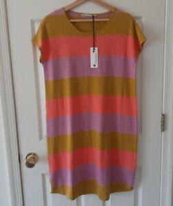 NWT Mansted Womens Curry Pink Purple Slub Knit Evita Striped Dress Size Medium