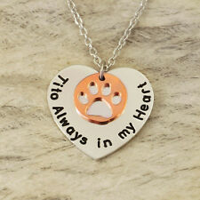 Personalized Dog Necklace Pet Memorial Gift Dog Lover Gift rose gold pawprint